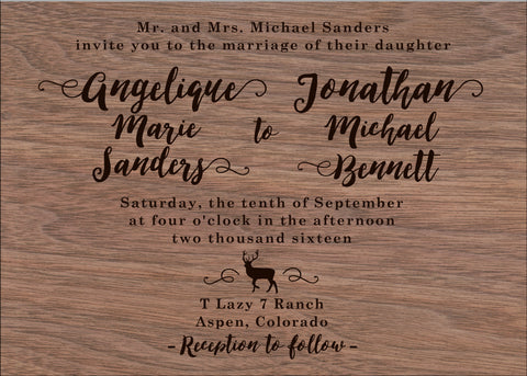 Aspen Mountain Wedding Invitation on Wood Veneer - IdeaChic  - 1