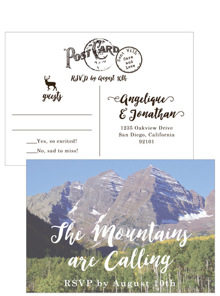 Aspen Mountain Wedding Invitation on Wood Veneer - Idea Chíc