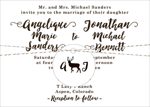 Aspen Mountain Wedding Invitation on White Paper Stock - Idea Chíc