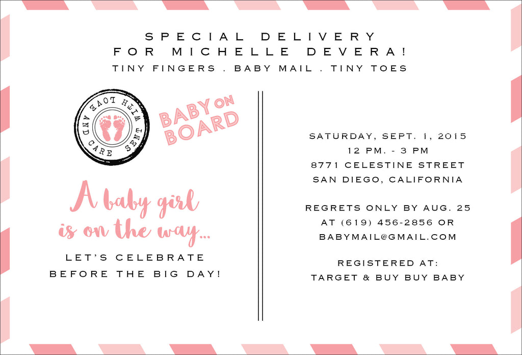 Special Delivery Airmail Baby Shower Invitation - Idea Chíc