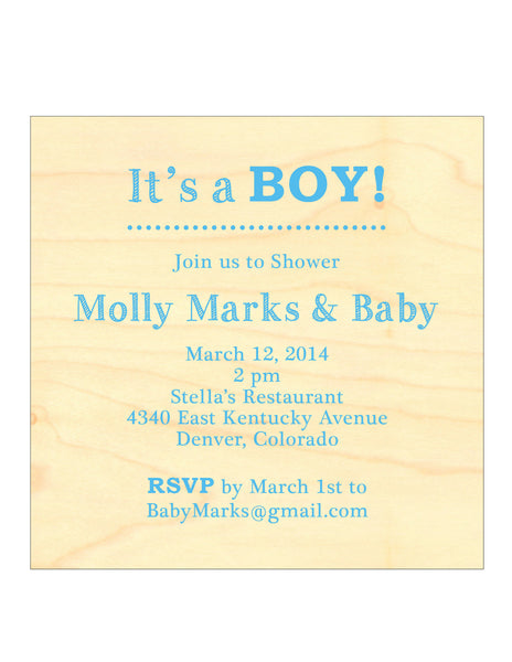 Wood Block Printed Shower Invitation - Boy or Girl - IdeaChic  - 2