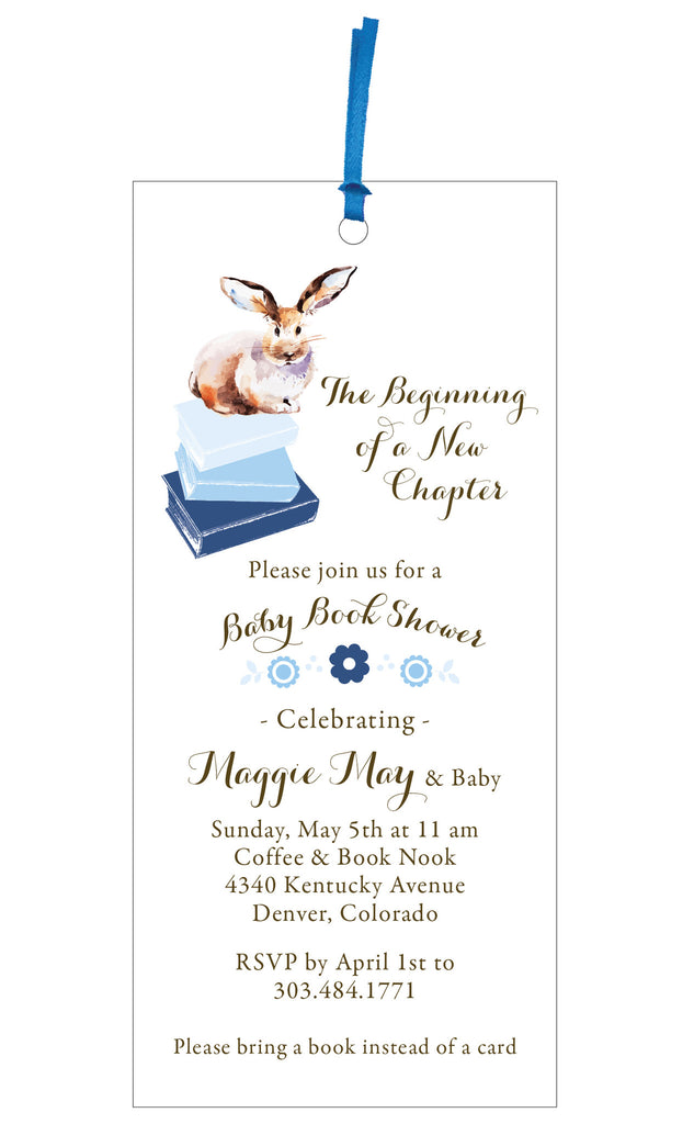 baby book shower invitation and bookmark gift idea chíc
