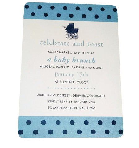 Polka Dot and Stroller Baby Shower Invitation - Idea Chíc