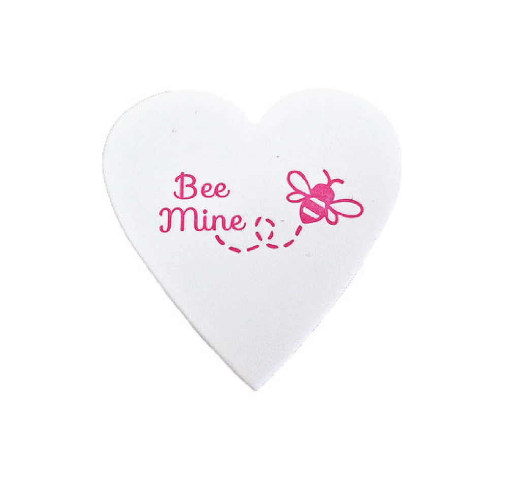 Bee Mine Mini Heart Note White Cotton with Glassine Sleeve - set of 4 - IdeaChic  - 1