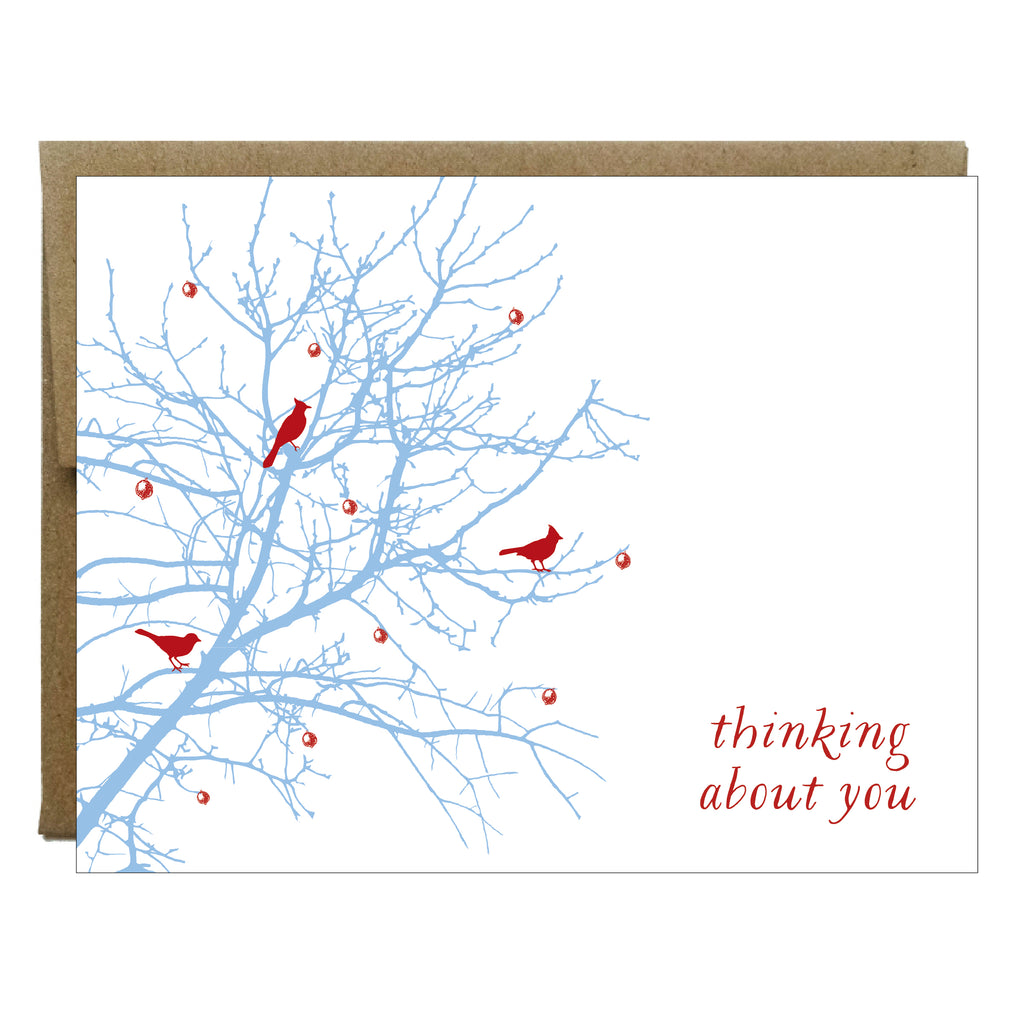 Thinking About You Berry Bird Branch Greeting Card