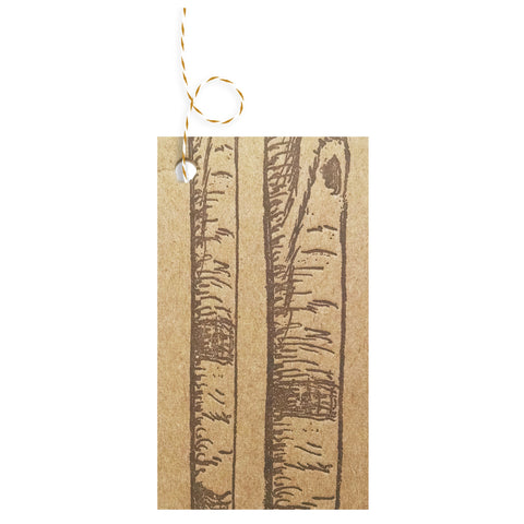 Letterpress on Chipboard Gift Tags - Brown Birch Trees - 4 Pack - Idea Chíc