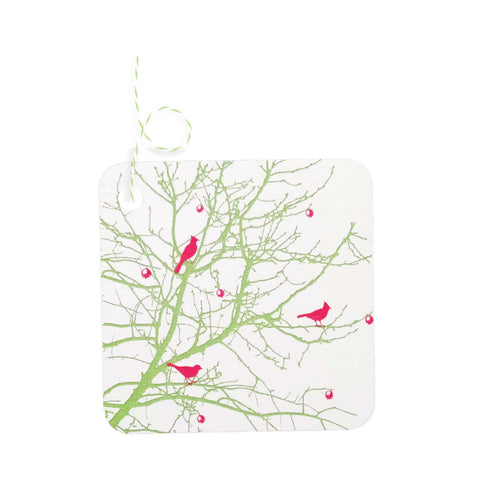 Spring Berry Branch Bird Tags - set of 5 - IdeaChic
