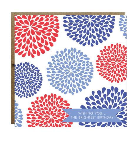 Happy Birthday Bright Bold Flower Bursts Greeting Card - Idea Chíc