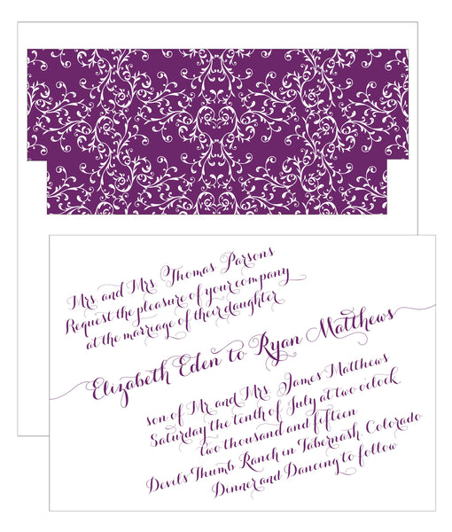 Handwritten Calligraphy on a Slant Wedding Invitation Collection - Idea Chíc