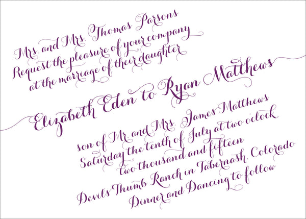 Handwritten Calligraphy on a Slant Wedding Invitation Collection - IdeaChic  - 2