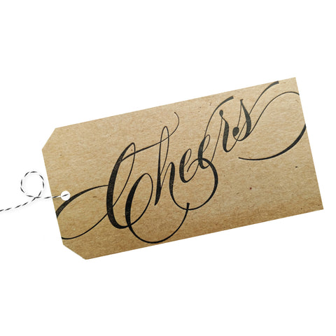 Cheers Gift Tag on Natural Recycled Chipboard pack of 4 - Idea Chíc
