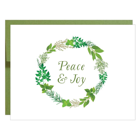 Peace and Joy Herb Wreath Christmas Holiday Greeting Card