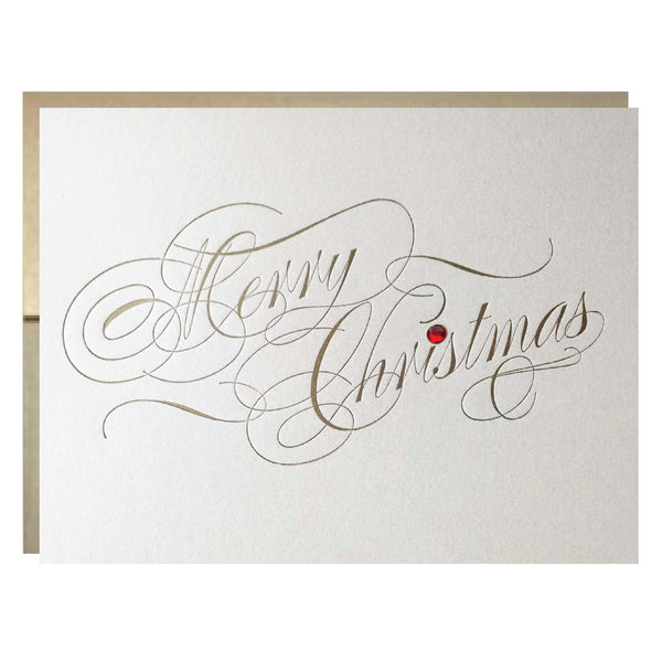 Letterpress Christmas Card with Rhinestone and Metallic Gold Envelope - 5 pack - Idea Chíc