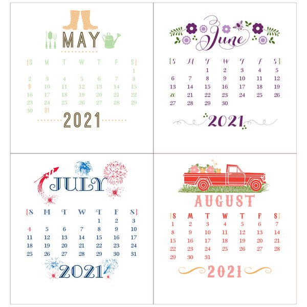 2021 Idea Chíc Colorful Mini 12-Month Desk Calendar - Idea Chíc