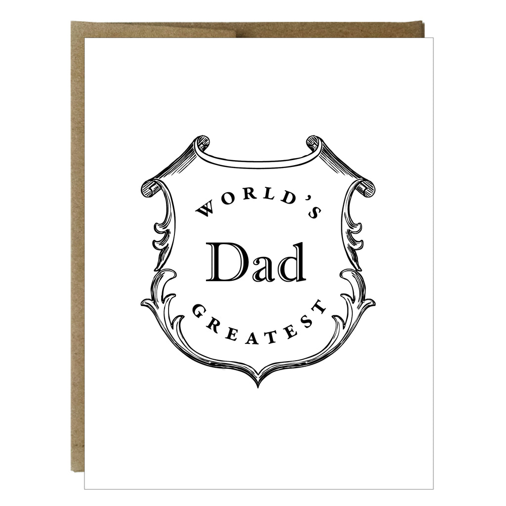 World's Greatest Dad Crest Letterpress Card - Idea Chíc