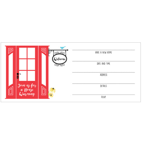 Red Door House Warming Fill-in Invitations - 10 pack - IdeaChic