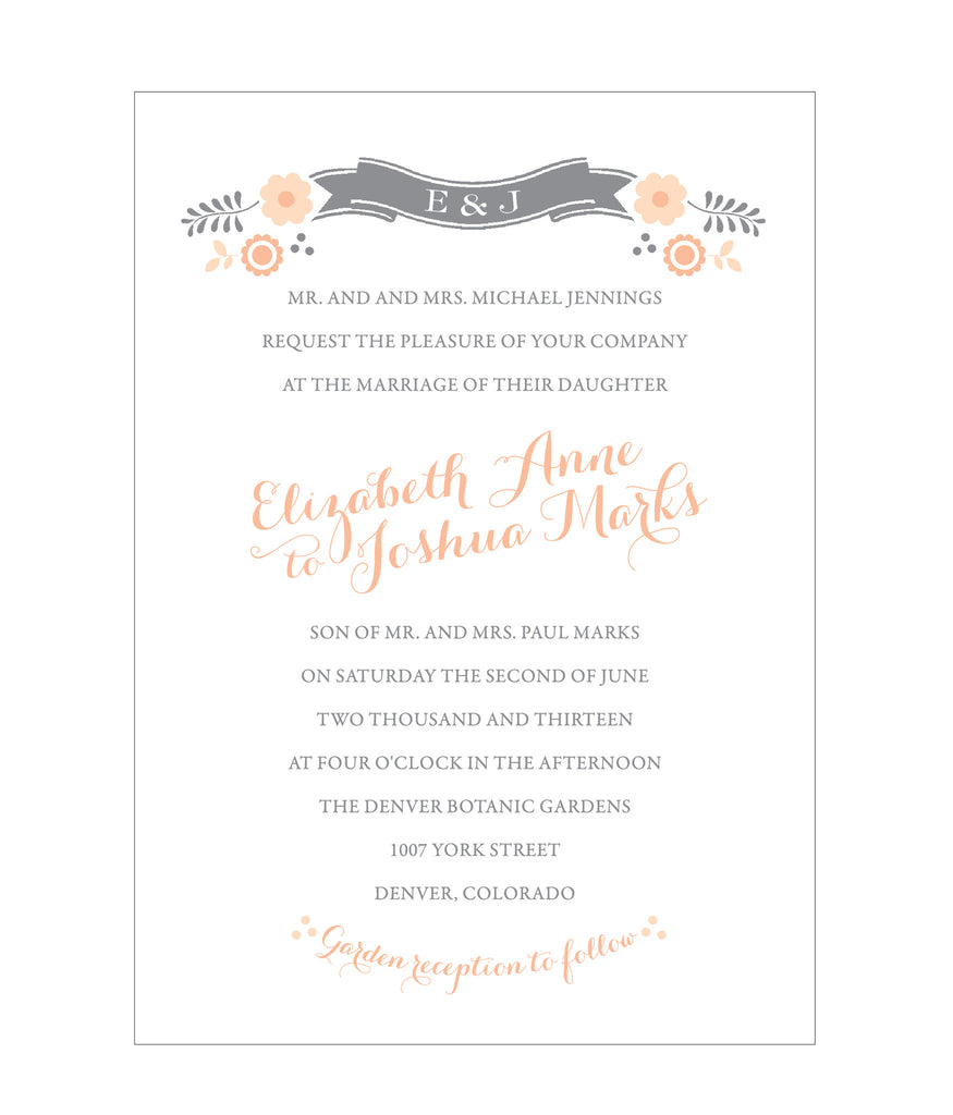 Floral Banner Folk Wedding Invitation Collection | Idea Chíc