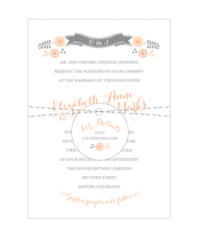 Floral Banner Folk Wedding Invitation Collection - Idea Chíc