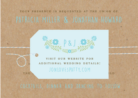 Floral Vine Folk Monogram Wedding Invitation Collection - Idea Chíc