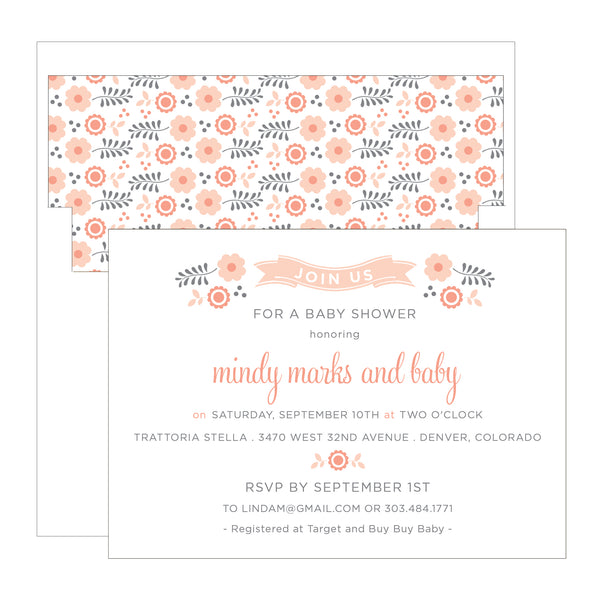 Flowers and Ribbon Banner Baby or Bridal Shower Invitation