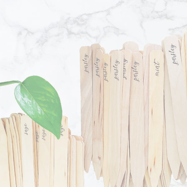 Herb Garden Markers | Set of 10 Wooden Stakes - Idea Chíc