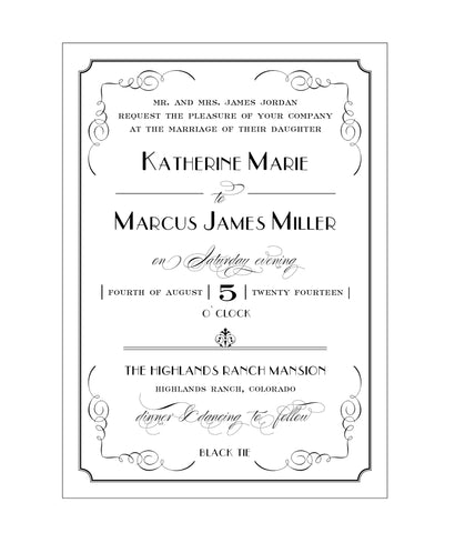 Elegant and Formal Great Gatsby Art Deco Inspired Wedding Invitation - IdeaChic  - 1