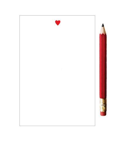 Mini Red Heart Notepad with Red Pencil - Idea Chíc
