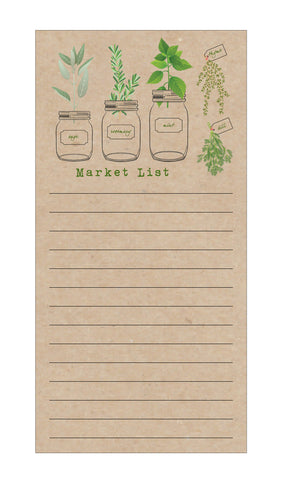 Herb Garden Market List Notepad on Kraft Paper - Idea Chíc