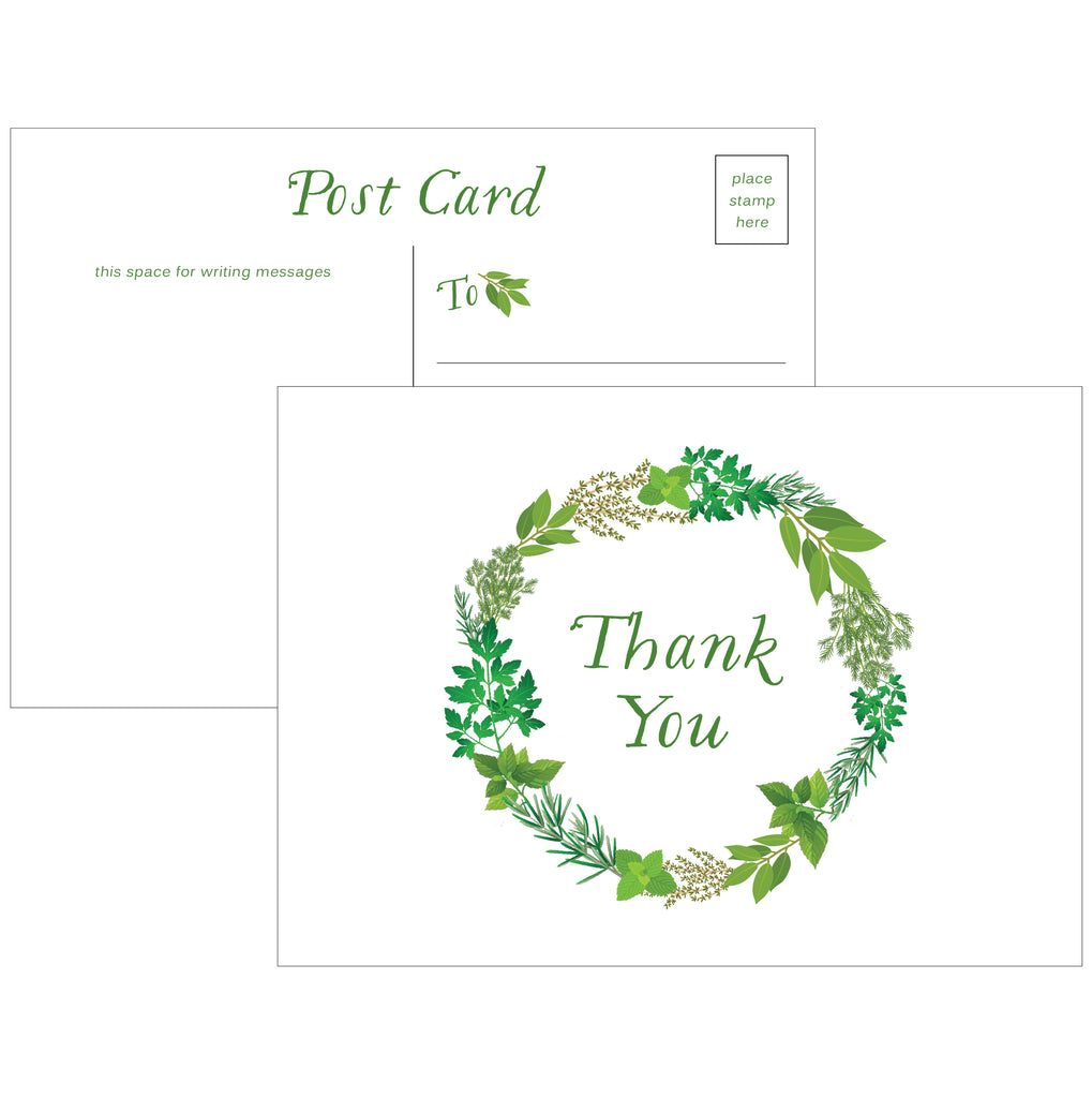 Herb Garden Wreath Thank You Postcards - Set of 10 - Idea Chíc