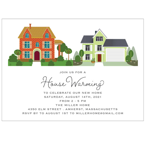 Little Neighborhood Homes House Warming Party Invitation