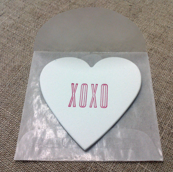 XOXO Mini Heart Note White Cotton with Glassine Sleeve - set of 4 - Idea Chíc