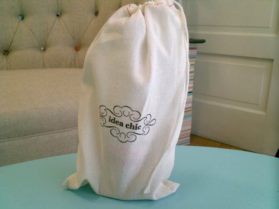"Cloth Bags Printed with Your Logo or Statement 6"" x 9"" sized bag - sets of 50 - Idea Chíc"