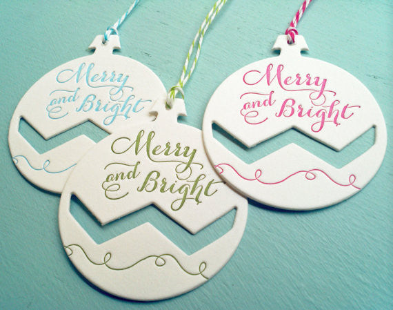 Letterpress Merry and Bright Ornament Gift Tags or Tree Ornaments - 3 pack - Idea Chíc