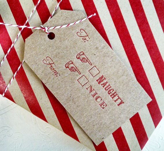 Letterpress Christmas Gift Tags Naughty or Nice 4 pack - Idea Chíc