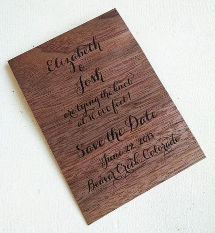 Walnut Wood Veneer Save the Date - Idea Chíc