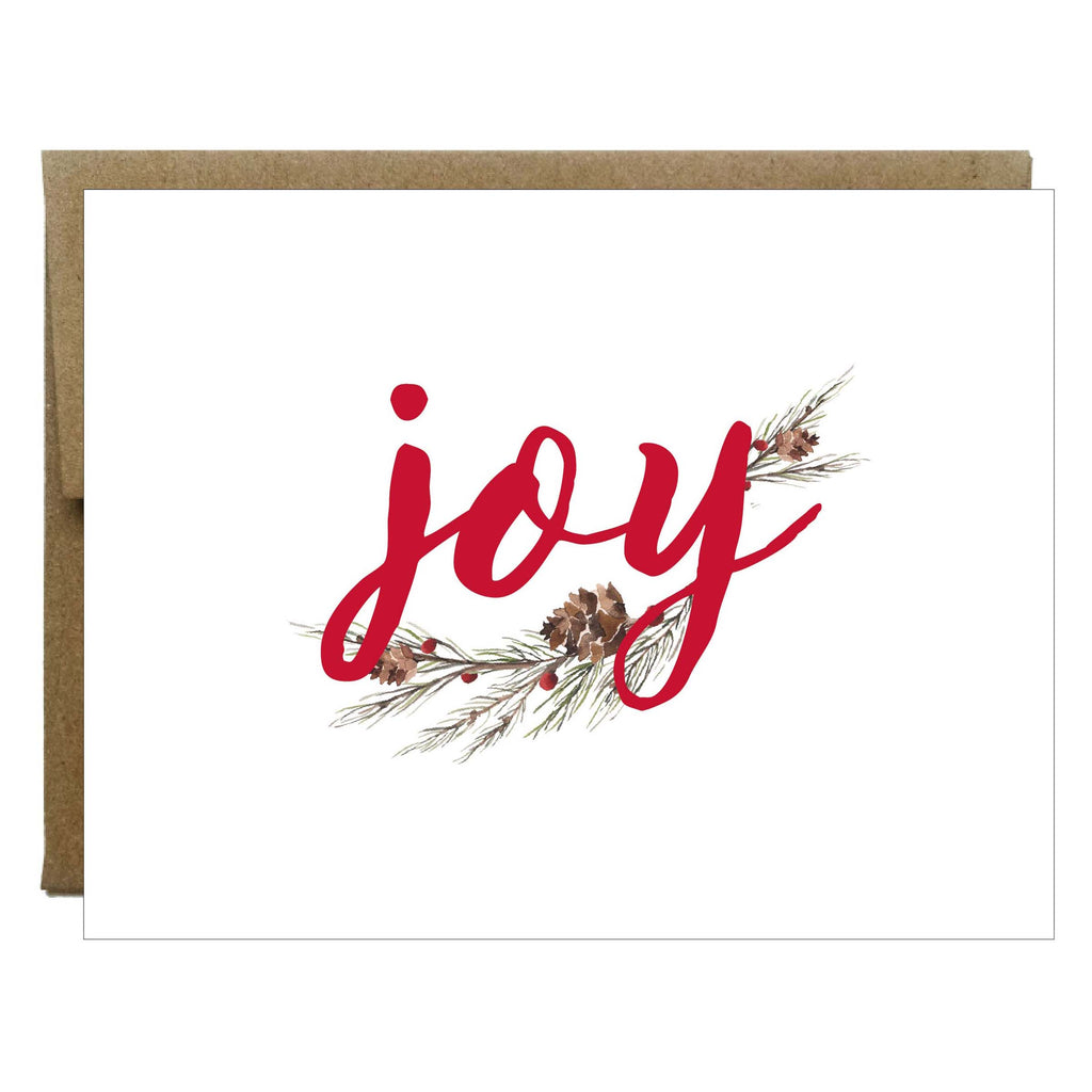 Joy Pinecone Branch Christmas Cards - 8 pack