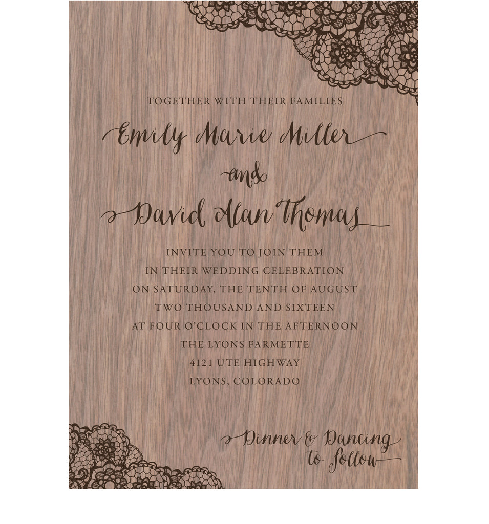 Walnut Wood Veneer with Lace Print Wedding Invitation - IdeaChic  - 1