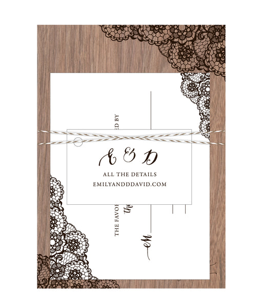 Walnut Wood Veneer with Lace Print Wedding Invitation - IdeaChic  - 2