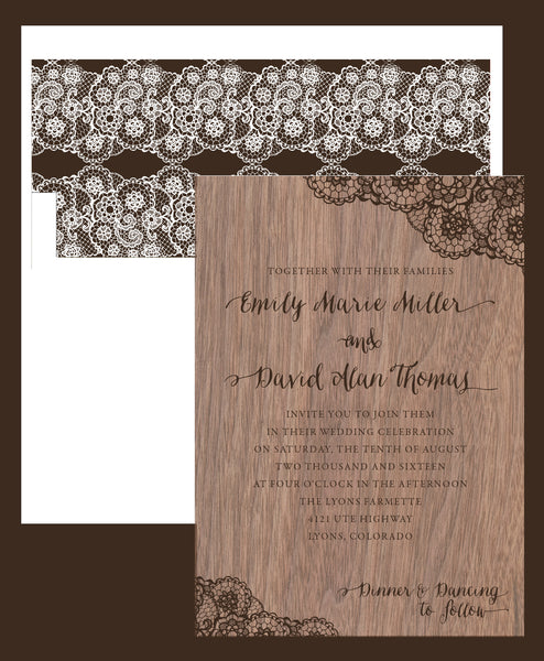 Walnut Wood Veneer with Lace Print Wedding Invitation - IdeaChic  - 3