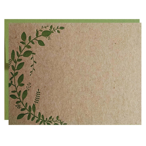 Leaf Vine Letterpress Cards pack of 5 - IdeaChic