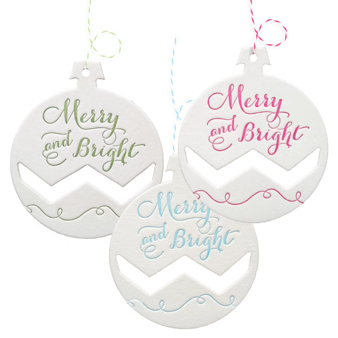 Letterpress Merry and Bright Ornament Gift Tags or Tree Ornaments - 3 pack - IdeaChic  - 1