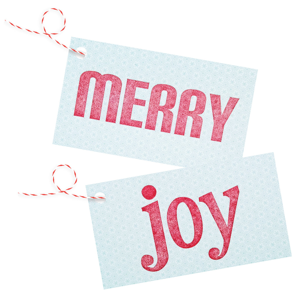 merry - joy letterpress red on ice blue gift tags - 4 pack - Idea Chíc