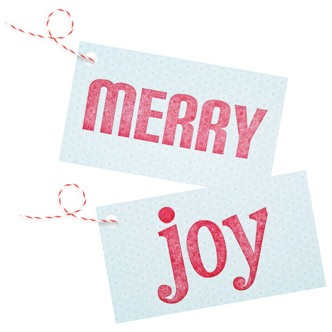 Merry / Joy Letterpress Gift Tags on Ice Blue & White Patterned Stock - Set of 4 - Idea Chíc