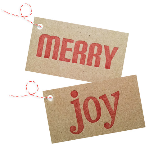 merry / joy letterpress on chipboard gift tags - 4 pack - Idea Chíc