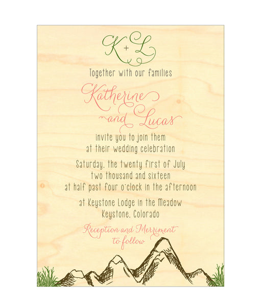 Mountain Alpine Trees and Aspen Leaves Wedding Invitation Collection on Wood Veneer - IdeaChic  - 3