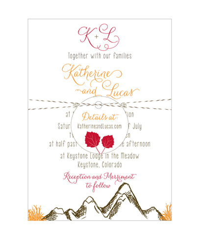 Mountain Alpine Trees and Aspen Leaves Wedding Invitation Collection - Idea Chíc