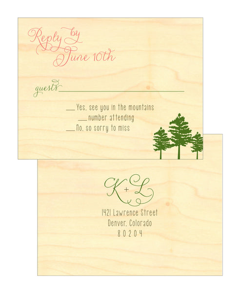 Mountain Alpine Trees and Aspen Leaves Wedding Invitation Collection on Wood Veneer - IdeaChic  - 5