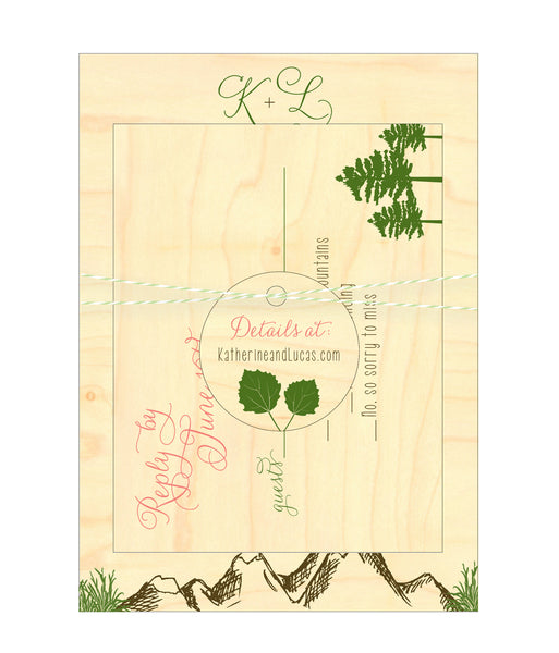 Mountain Alpine Trees and Aspen Leaves Wedding Invitation Collection on Wood Veneer - Idea Chíc