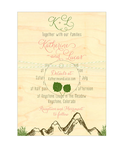 Mountain Alpine Trees and Aspen Leaves Wedding Invitation Collection on Wood Veneer - IdeaChic  - 1