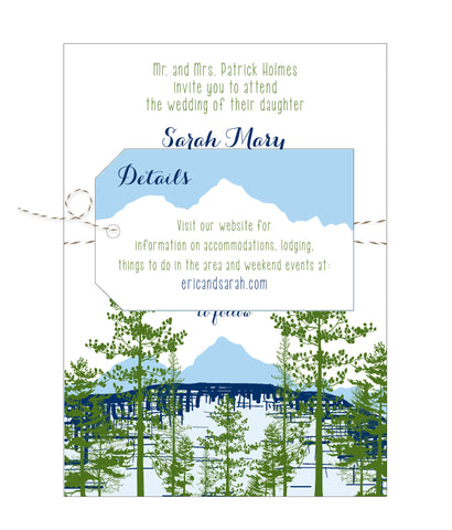 Mountain Lake View Wedding Invitation Suite - Idea Chíc